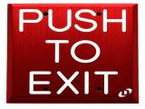 Dynalock 6901 Series Engraved White �PUSH TO EXIT� Red Pushplate