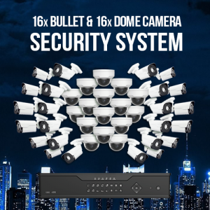Enterprise Surveillance System -16 Fixed Dome and 16 Fixed Bullet Cameras with Recorder