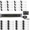 2m 4k Technology 16 Fixed Bullet/ 16 Motorized Bullet Security Camera System kit