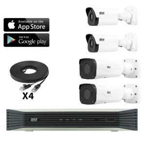 4k convenient store camera system-2 Fixed/ 2 Motorized Bullet Kit