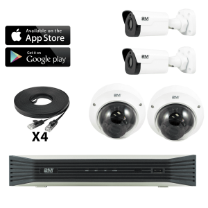 4k commercial ip camera system- 2 Fixed Bullet/ 2 Motorized Dome