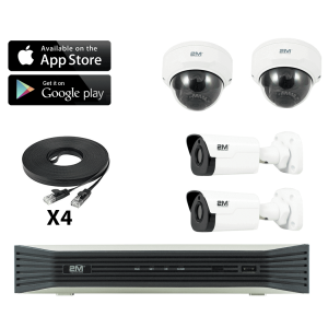 4k ip cctv camera system- 2 fixed dome/ 2 fixed bullet
