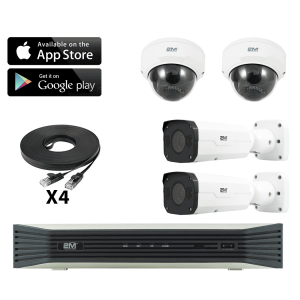 4k home ip security camera system- 2 Fixed Dome/ 2 Motorized Bullet