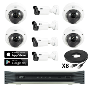 4K IP Kit- 4 Fixed Dome/ 4 Motorized Bullet