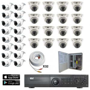 TVI Security Camera System 16 Fixed Bullet-16 Motorized dome
