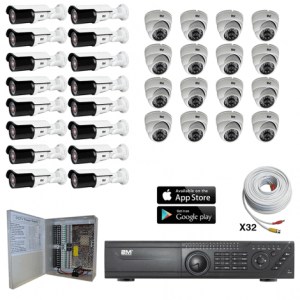 TVI Security Camera System 16 Fixed dome-16 Motorized Bullet