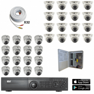 TVI Security Camera System 16 fixed dome-16 motorized dome