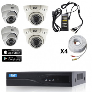 2m Technology 2 Fixed dome, 2 Motorized dome Security Camera System