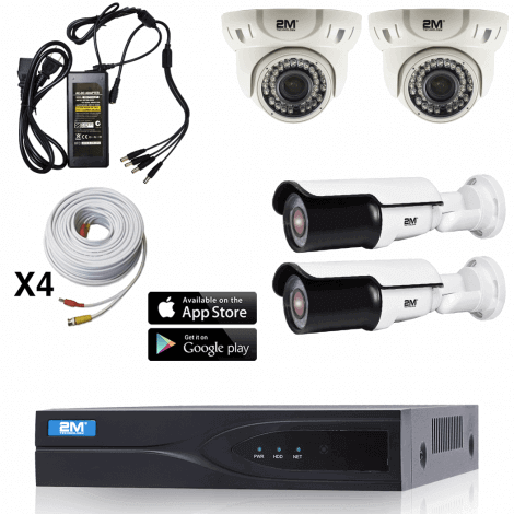 2m Technology 1080P, 2 Motorized dome,2 Motorized Bullet Security Camera System