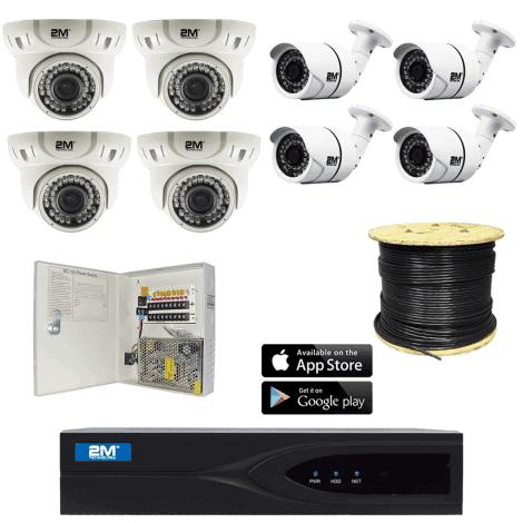 2M TVI 8 Camera System Kit 2MKT-2M4FB4ZD