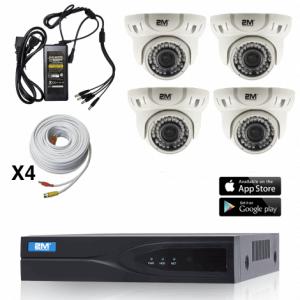 4 TVI Motorized Dome Security Camera System Kit