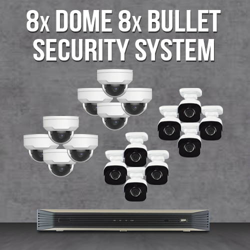 Mid-size Surveillance Systems - 16 Fixed Domes/Bullets Cameras and NVR