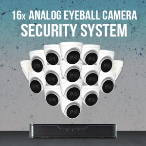 16 Analog Eyeball Camera Security System